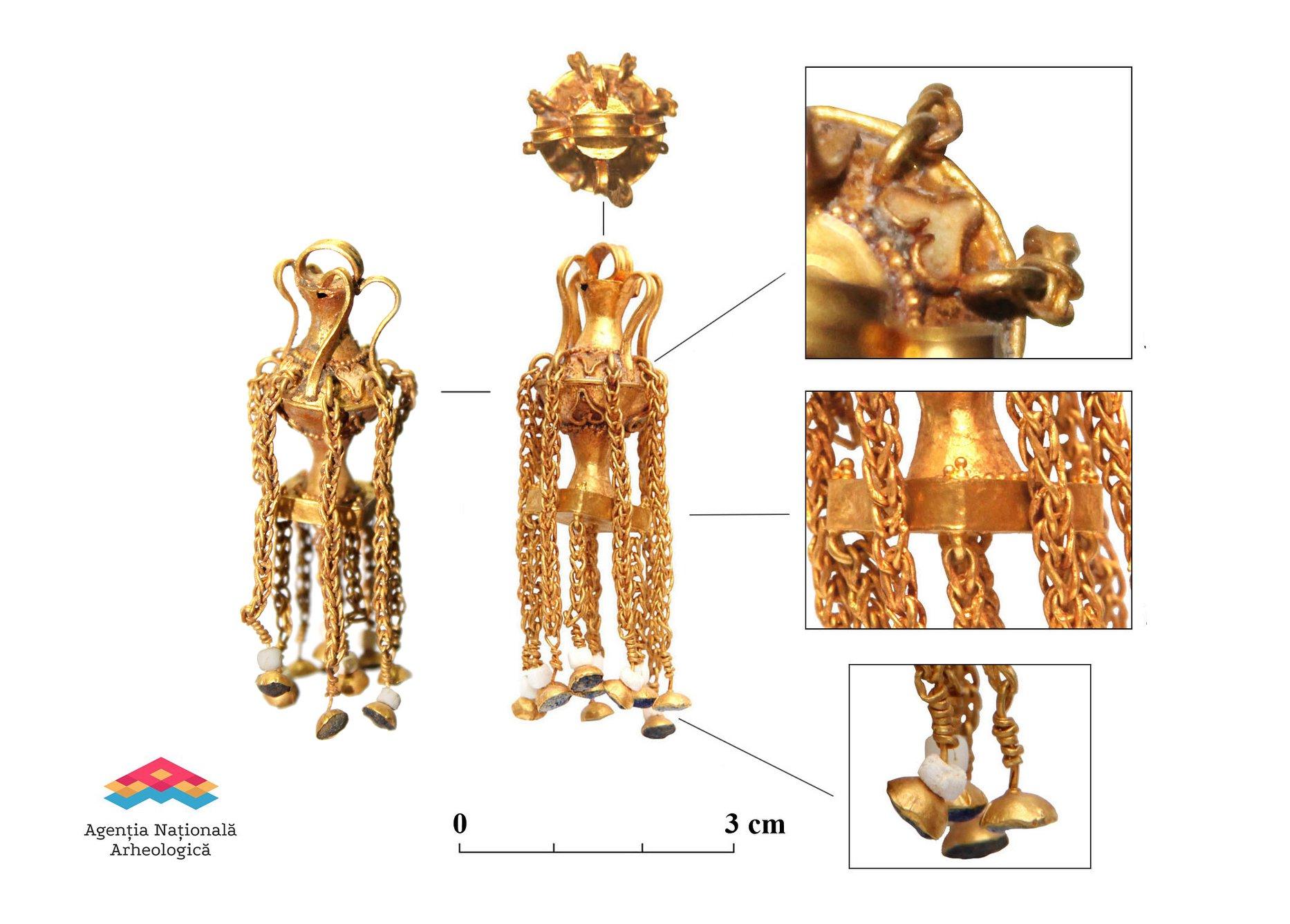 Cercelul de aur în formă de amforetă de la Medeleni